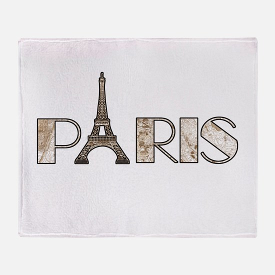 Typography map throw blankets typography map fleece blankets paris with 1889 map overlay throw blanket publicscrutiny Choice Image