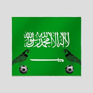 Saudi Arabia Football Flag Throw Blanket