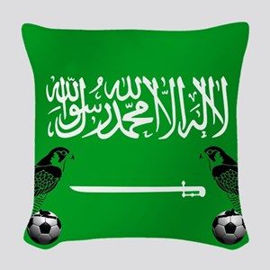 Saudi Arabia Football Flag Woven Throw Pillow