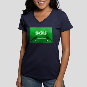 Saudi Arabia Football Women's V-Neck Dark T-Shirt
