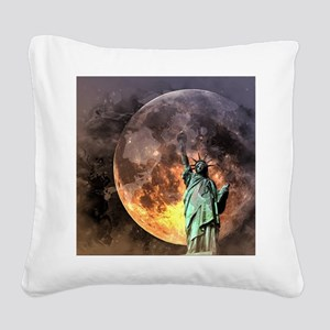 Liberty at moonlight Square Canvas Pillow