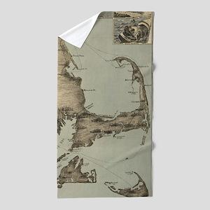 Vintage Map of Cape Cod (1885) Beach Towel