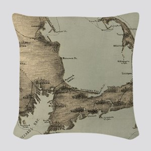 Vintage Map of Cape Cod (1885) Woven Throw Pillow