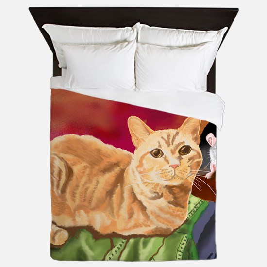 Funny Orange tabby Queen Duvet