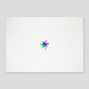 Rainbow Paint Splatter 5'x7'Area Rug