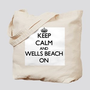 Keep calm and Wells Beach Maine ON Tote Bag