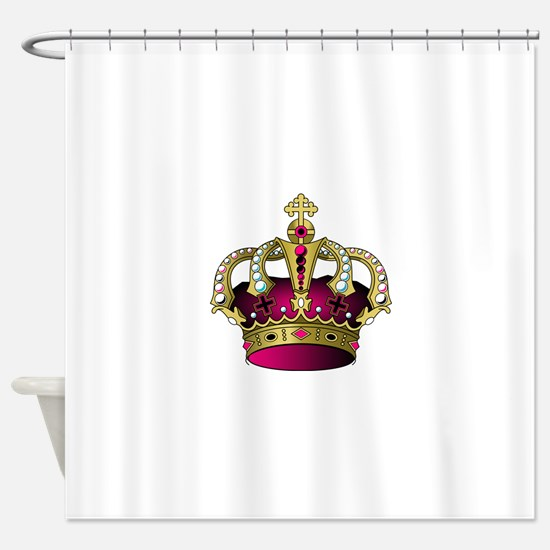 Pink & Gold Crown Shower Curtain