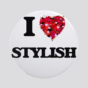 I love Stylish Ornament (Round)