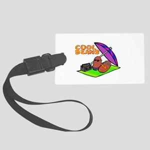 cool beans on the beach Large Luggage Tag