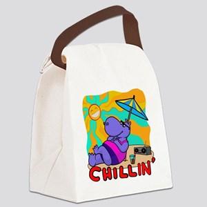 Chillin' Hippo Canvas Lunch Bag