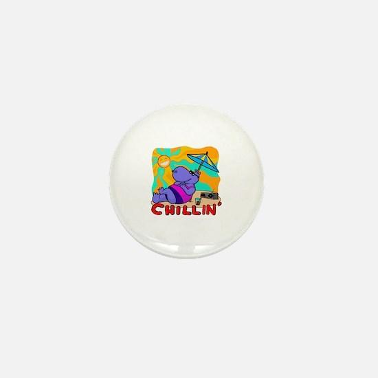 Chillin' Hippo Mini Button