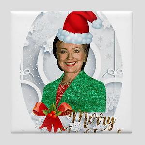 merry xmas Hillary clinton Tile Coaster