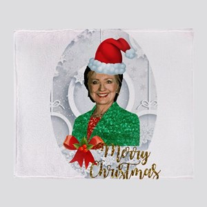 merry xmas Hillary clinton Throw Blanket