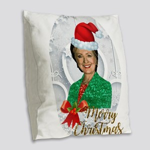 merry xmas Hillary clinton Burlap Throw Pillow