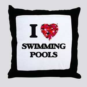 I love Swimming Pools Throw Pillow