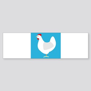 White Chicken Hen on Blue Bumper Sticker