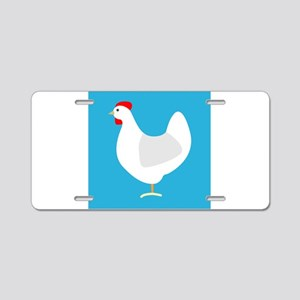 White Chicken Hen on Blue Aluminum License Plate