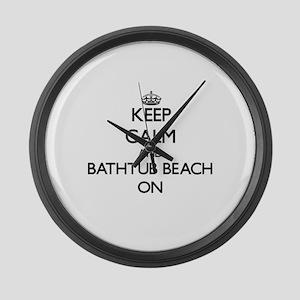 Keep calm and Bathtub Beach Flori Large Wall Clock