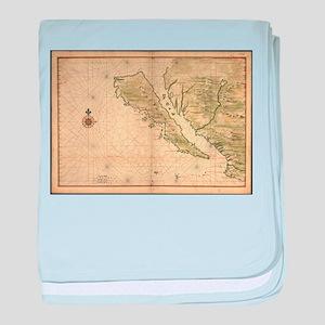 Vintage Map of California (1650) baby blanket