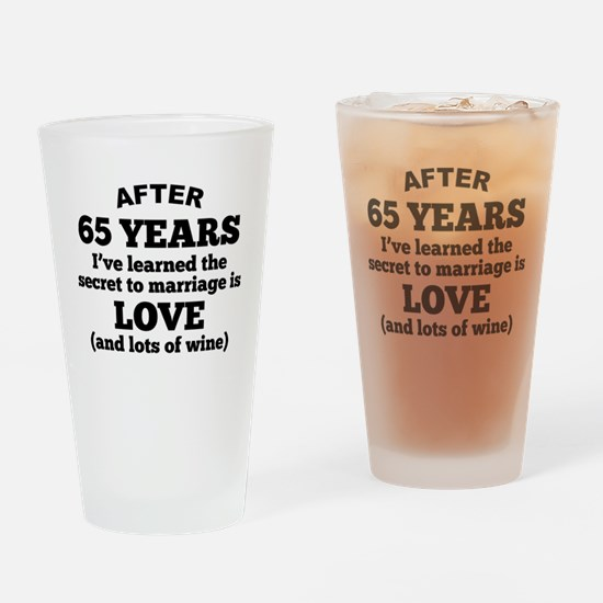 65 Years Of Love And Wine Drinking Glass