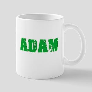 Adam Name Weathered Green Design Mugs
