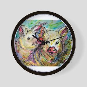 piglets, pig pair Wall Clock