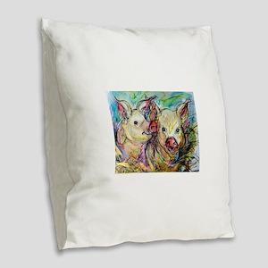 piglets, pig pair Burlap Throw Pillow