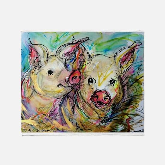 piglets, pig pair Throw Blanket