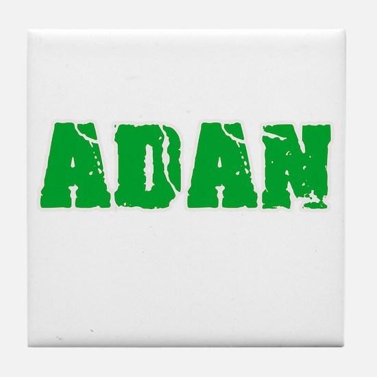 Adan Name Weathered Green Design Tile Coaster