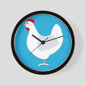 White Chicken Hen on Blue Wall Clock