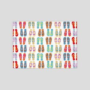 Beach Flip Flops 5'x7'Area Rug