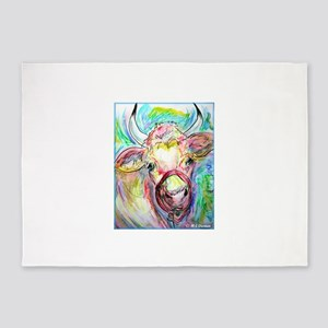Cow! Colorful, art! 5'x7'Area Rug
