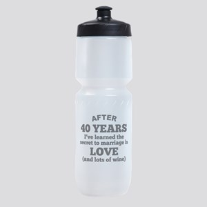 40 Years Of Love And Wine Sports Bottle