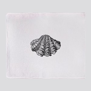 Vintage Clam Seashell Throw Blanket