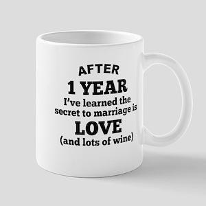 1 Year Of Love And Wine Mugs