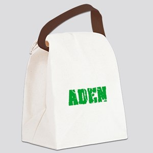 Aden Name Weathered Green Design Canvas Lunch Bag