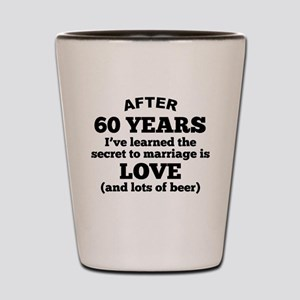 60 Years Of Love And Beer Shot Glass