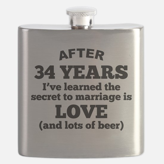 34 Years Of Love And Beer Flask