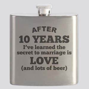 10 Years Of Love And Beer Flask