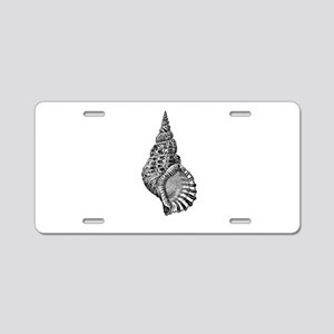 Black and white Conch shell Aluminum License Plate