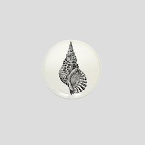 Black and white Conch shell Mini Button
