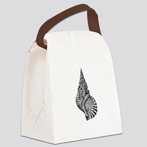 Black and white Conch shell Canvas Lunch Bag