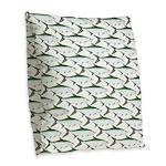 Tarpon Pattern Burlap Throw Pillow