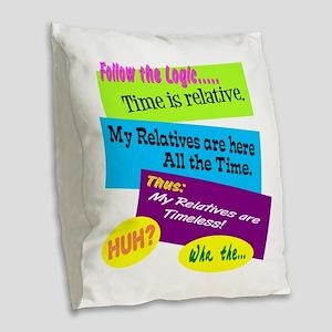 Timeless Relatives Burlap Throw Pillow