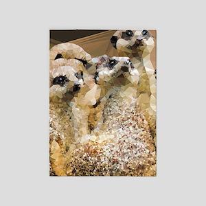 Meerkats Geometric Low Poly 5'x7'area Rug