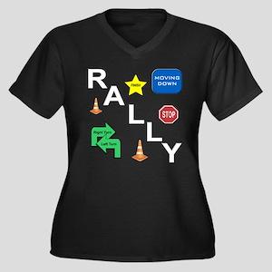 Rally-O Women's Plus Size V-Neck Dark T-Shirt