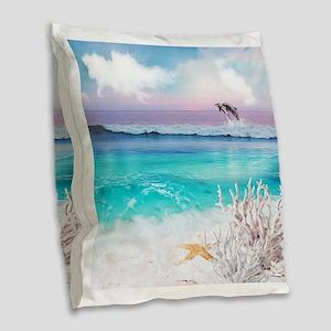 Beach and Ocean Dancing Dolph Burlap Throw Pillow
