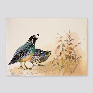 Watercolor Desert Gambel's Quail 5'x7'Area Rug