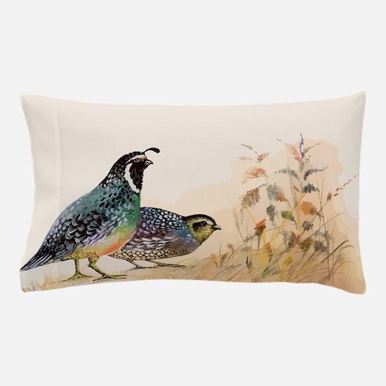 Watercolor Desert Gambel's Quail Pillow Case