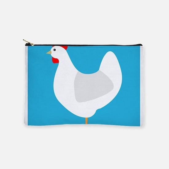 White Chicken Hen on Blue Makeup Bag